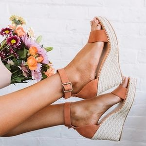 Peach Espadrille Wedge Sandal